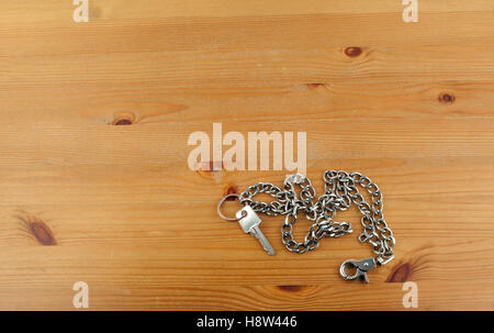 Old silver key chain with keys. - Stock Photo