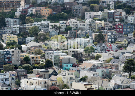 General view of residential area in San Francisco, CA, USA - Stock Photo