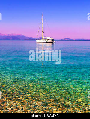 sailboat in the Ionian sea Ithaca Greece - Stock Photo