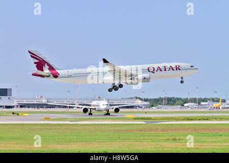 Qatar Airways Airbus A330 at takeoff at Milan - Malpensa (MXP / LIMC) Italy - Stock Photo