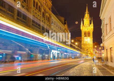 Luminous track from the tram in Prague, Czech - Stock Photo
