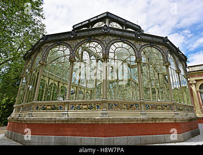Palacio de Cristal - The Glasshouse - Retiro Park Madrid, Spain - Stock Photo