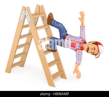 3d working people illustration. Worker falling off a ladder. Occupational accident. Isolated white background. - Stock Photo