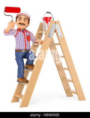 3d working people illustration. Painter working up a ladder with a roller brush. Isolated white background. - Stock Photo