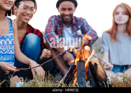 Multiethnic group of of cheerful young people talking and preparing marshmallows on bonfire outdoors in summer - Stock Photo