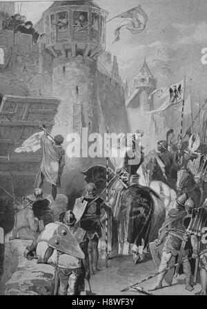 Aachen, Germany, the people Refuse him to enter the city: Rupert, Count Palatine of the Rhine, Duke of Bavaria, - Stock Photo