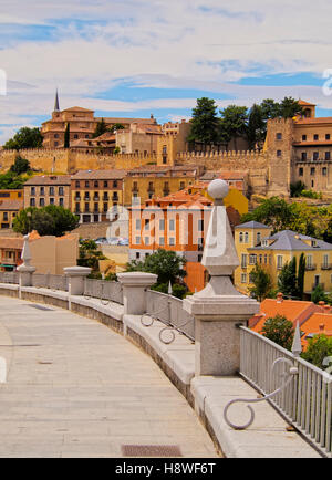 Spain, Castile and Leon, Segovia, View of the old town. - Stock Photo