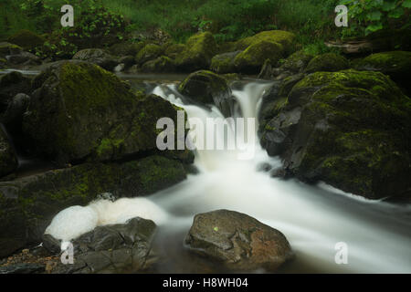 Waterfall detail at the Aira Force between Matterdale and Ullswater, Lake District National Park, Cumbria, England, - Stock Photo