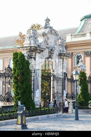 Gate at Buda Castle, the historical castle and palace complex of the Hungarian kings in Budapest, Hungary. - Stock Photo