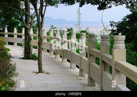 walkway fencing curved trees path walkway in garden stock photo royalty free