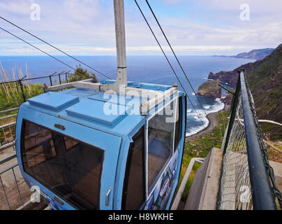 Portugal, Madeira, Santana, Cable car to the Rocha do Navio Reserve. - Stock Photo
