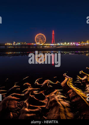 Blackpool Tower and Central Pier with reflection of illuminations in water on beach, Lancashire, UK. - Stock Photo