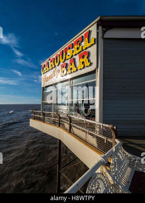Carousel Family Bar sign on North Pier, Blackpool, Lancashire, UK. - Stock Photo