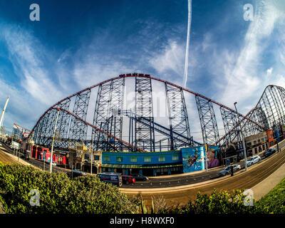 Big Dipper Rollercoaster ride at Pleasure Beach, Blackpool, Lancashire, UK. - Stock Photo