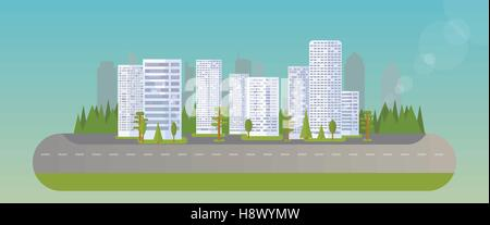 Abstract city island. Flat trees, houses, skyscrapers. - Stock Photo