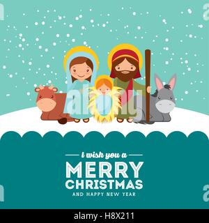 holy family manger scene. merry christmas and happy new year card colorful design. vector illustration - Stock Photo