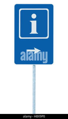 Info sign in blue, white i letter icon and frame, right hand pointing arrow, isolated roadside information signage - Stock Photo