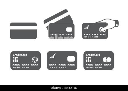 Credit card icons. Vector illustration. - Stock Photo