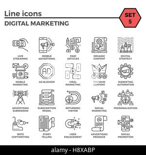 Digital Marketing Thin Line Related Icons Set on White Background. Simple Mono Linear Pictogram Pack Stroke Vector - Stock Photo