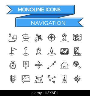 Navigation Line Icon Set. Navigation Icon Vector. Navigation Icon Flat. Navigation Icon Image. Navigation Icon JPEG. - Stock Photo