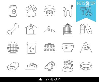 Pets shop icons. Thin line flat vector related icon set for web and mobile applications. It can be used as - logo, - Stock Photo