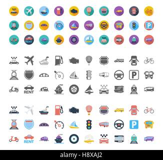 Transportation icons set. Flat vector related different styles icons set for web and mobile applications. It can - Stock Photo