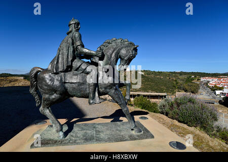 Portugal, Mértola: Equestrian statue of Ibn Qasi in front of the castle - Stock Photo