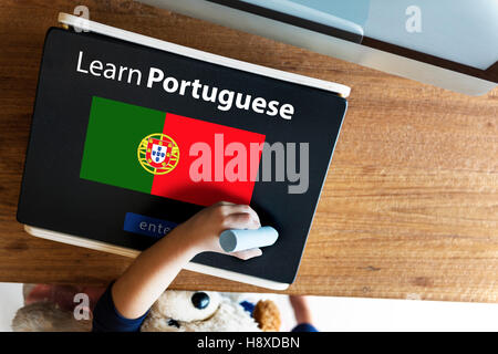Learn Portuguese Language Online Education Concept - Stock Photo