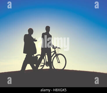 Businessmen Talking Discussion Freedom Outdoors Concept - Stock Photo