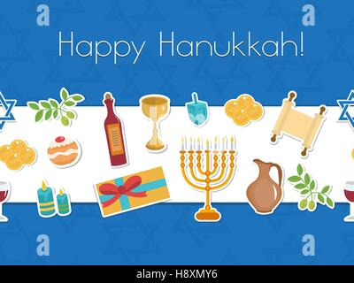 Happy Hanukkah seamless poster. greeting card, flyer, invitation. - Stock Photo