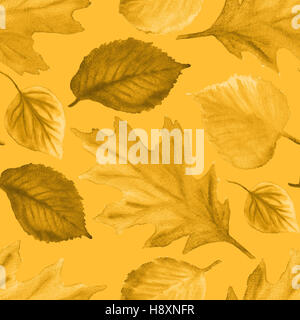 Watercolor Autumn Abstract Background. Seamless pattern with yellow autumn leaves. Autumn ornament. Watercolor leaves. - Stock Photo