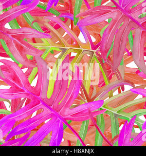 Tropical leaves, plants on a wild jungle background. Floral seamless patten of red, green, blue, leaf and leafs. - Stock Photo