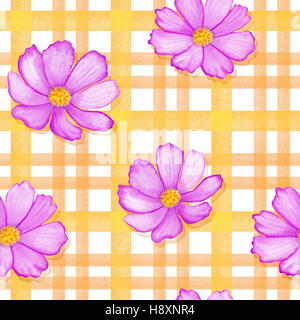 Seamless flowers cosmos on a gingham checks yellow colors.  blue flowers on stripes ornament. Watercolor realistic - Stock Photo