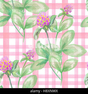 Seamless pattern with watercolor leaves and flowers of clover on checkered background - Stock Photo