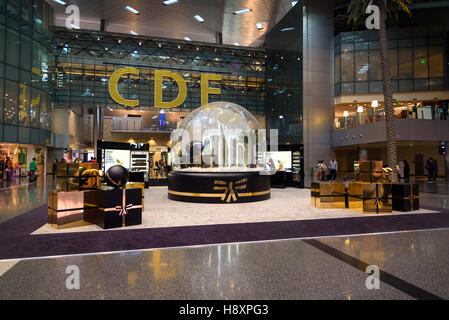 Interior of Hamad International Airport. Doha, Qatar - Stock Photo