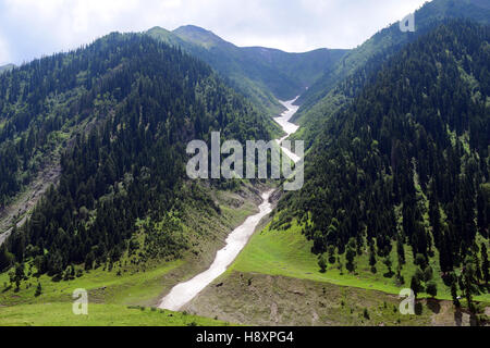 Snow frozen Himalayas river in Kashmir Valley at Sonamarg Himalayan mountains with forest trees landscape view kashmir - Stock Photo