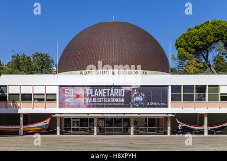 Calouste Gulbenkian Planetarium commemorating the 50th anniversary. Belem District, Lisbon, Portugal. - Stock Photo