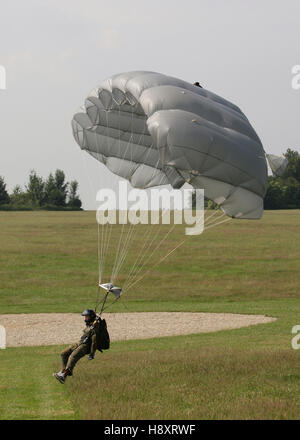 Paratrooper just before landing with a paraglider beside the target, 13th International Paratrooper Competition - Stock Photo