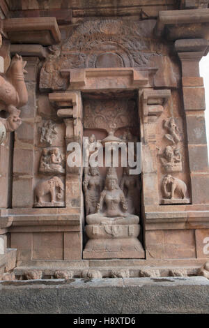 Goddess Lakshmi, southern niche of the central shrine, Brihadisvara Temple, Tanjore, Tamil Nadu, India. - Stock Photo