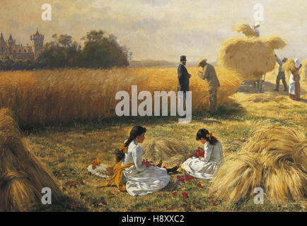 Adolf Muller  Harvest Time on the Estate - Stock Photo