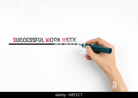 Hand with marker writing the text - SUCCESSFUL WORK WEEK - Stock Photo