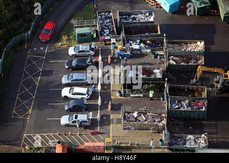 aerial view of domestic household waste recycling plant in UK - Stock Photo