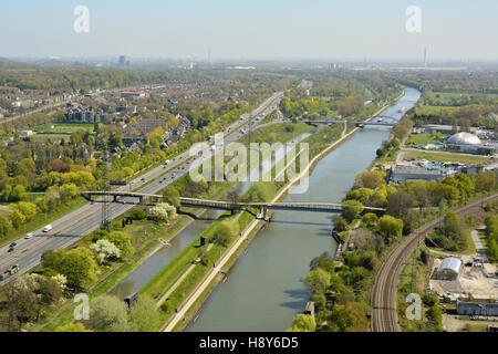 View over Rhein-Herne-Kanal in Oberhausen, Germany. - Stock Photo
