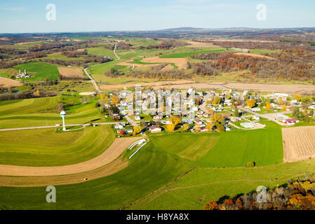 Aerial photograph of Hollandale, Wisconsin and rural Wisconsin, with Blue Mound State Park on the horizon. - Stock Photo