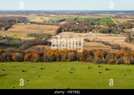Aerial photograph of rural Wisconsin on a beautiful autumn day. - Stock Photo
