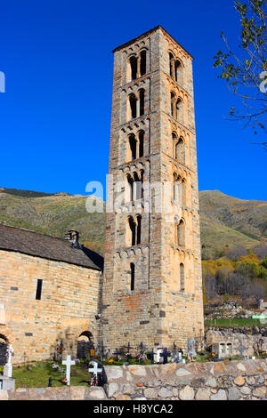 Bell Tower of Sant Climent de Taüll Romanesque Church.Täull. Pyrenees. Lleida. Spain - Stock Photo