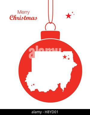 Merry Christmas illustration theme with map of Sudan - Stock Photo
