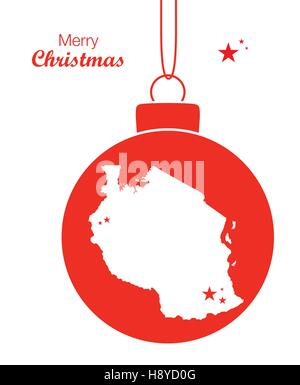 Merry Christmas illustration theme with map of Tanzania - Stock Photo