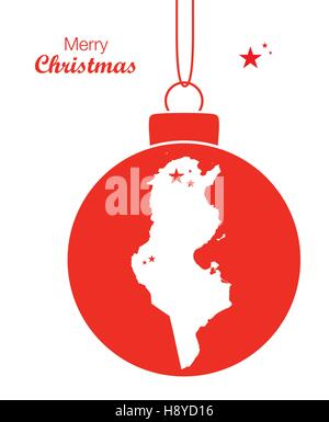 Merry Christmas illustration theme with map of Tunisia - Stock Photo