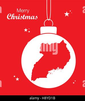 Merry Christmas illustration theme with map of Uganda - Stock Photo